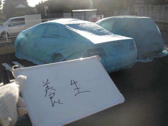 高崎市屋上外壁塗装工事施工例近隣車輌養生